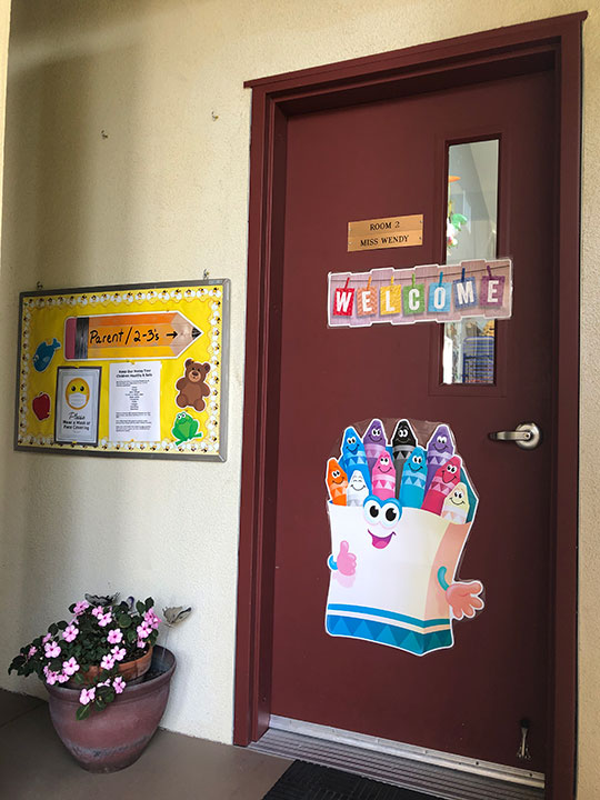 Classroom Door With Large Welcome Sign