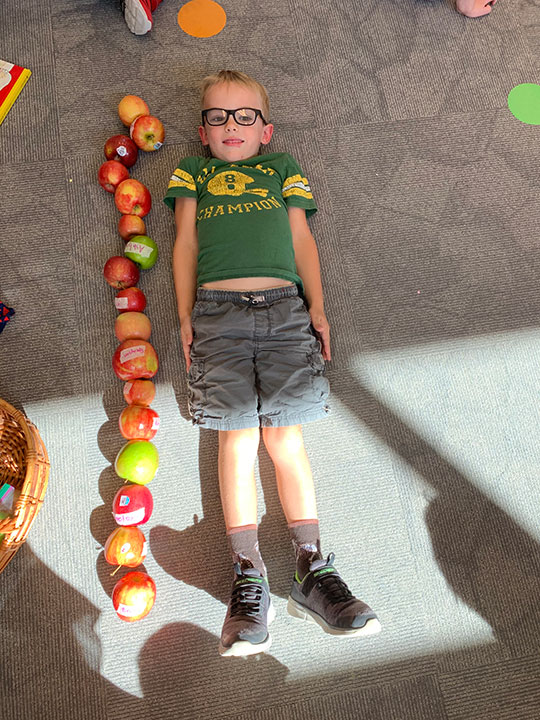 Young boy with laying on the floor with a column of apples to his side so he can measure his height in apples.