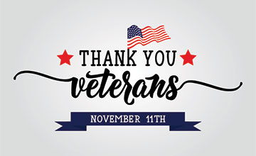 Graphic with Thank You Veterans Text