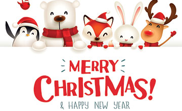 Graphic with Merry Christmas and Happy New Year Text