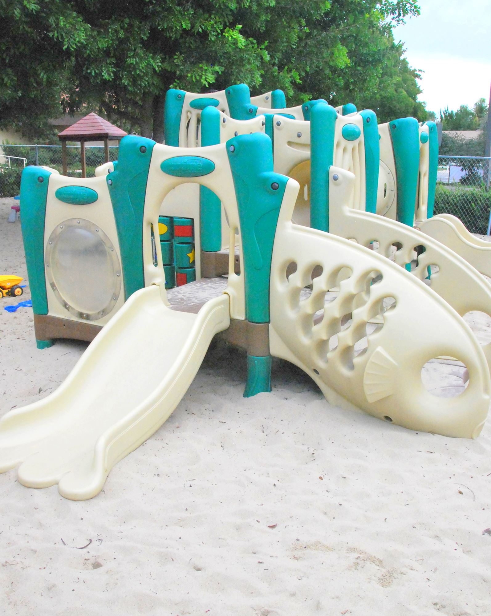 Large play structure with lots of activities.
