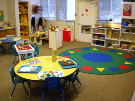 Large, colorful classroom.