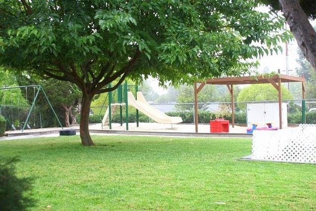 Large grass playard with swings, slide sand sandbox.