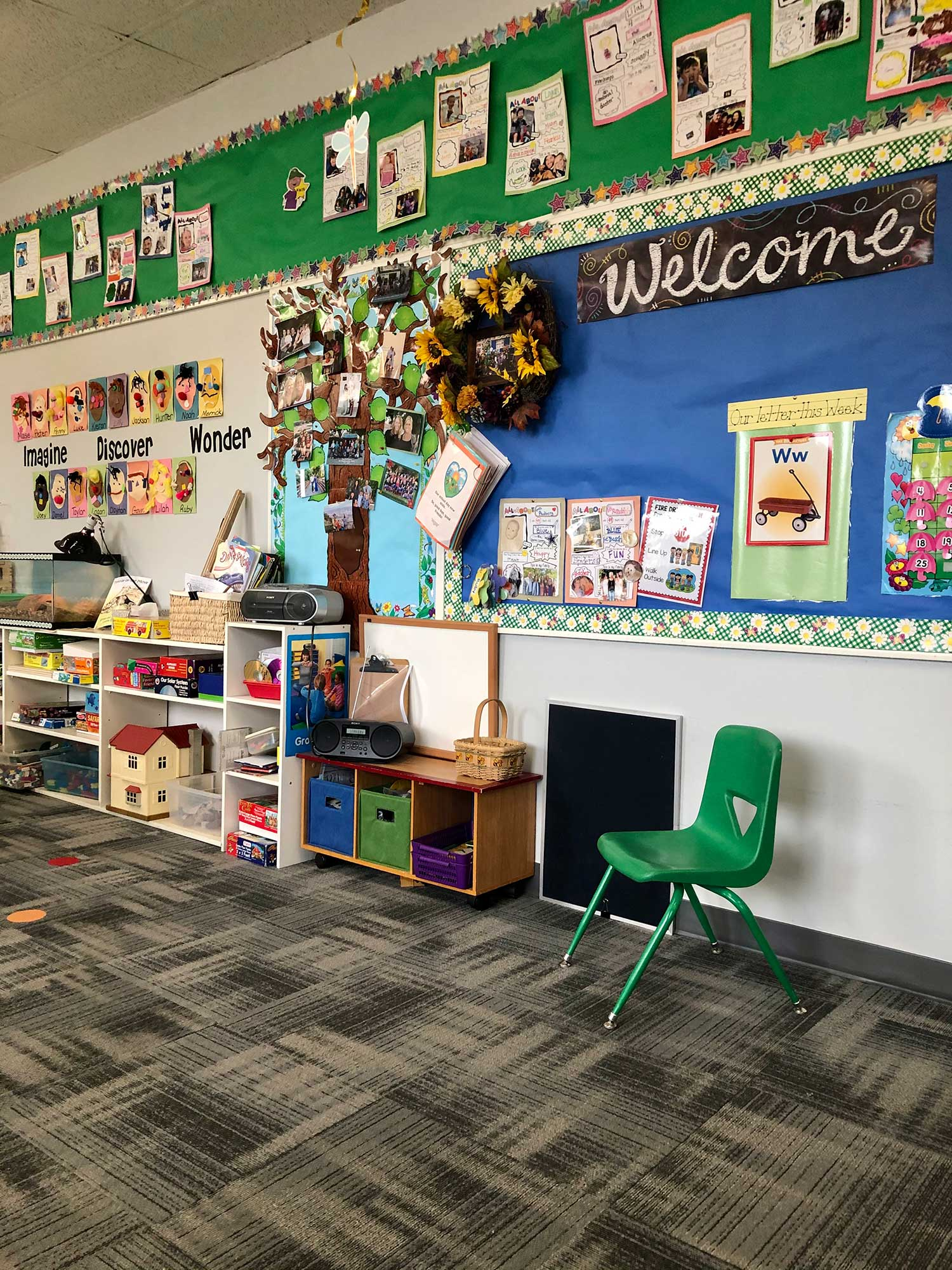 Classroom Wall Lined with Toys and Activities