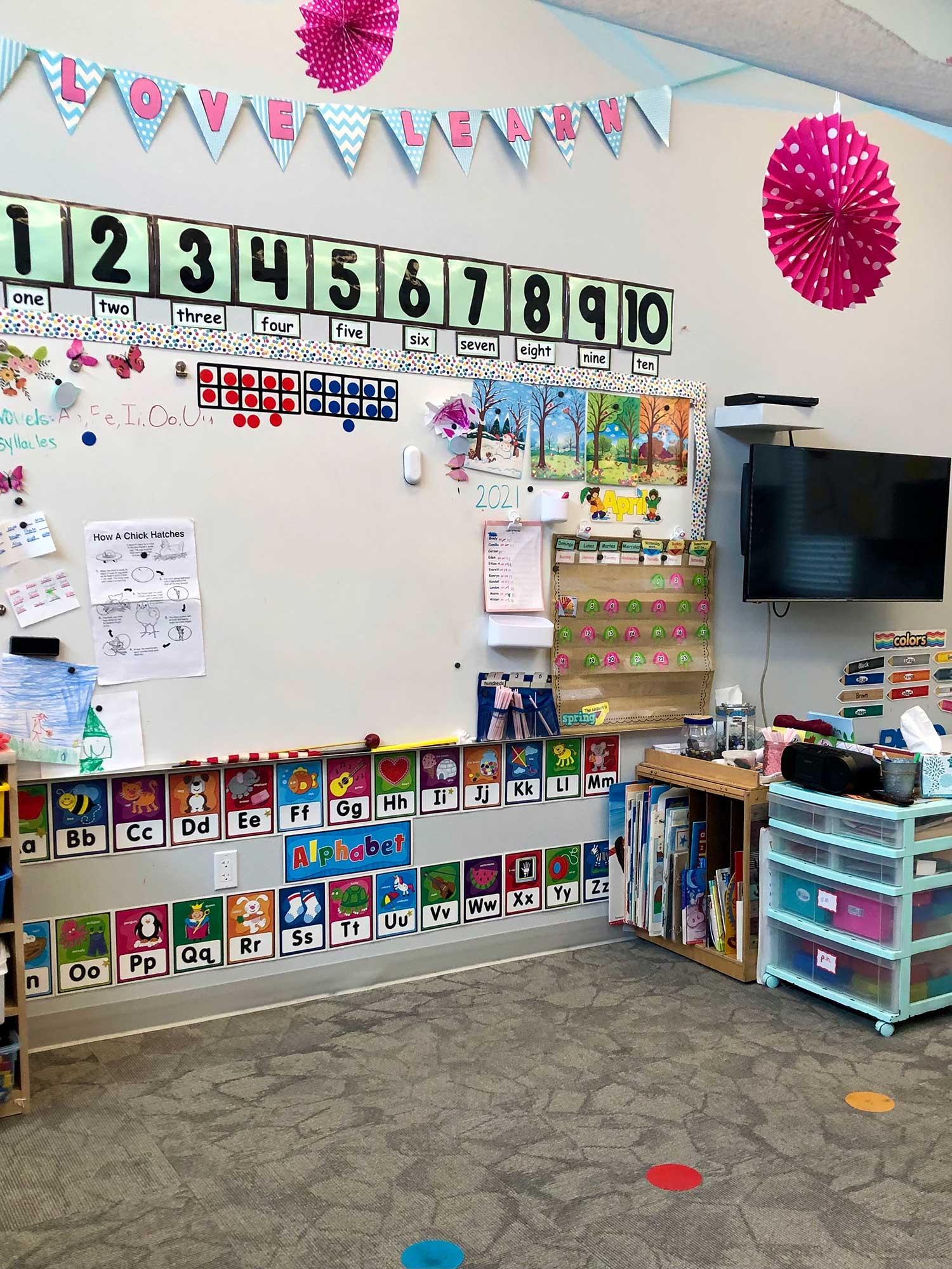 Classroom wall with Numbers and Letters