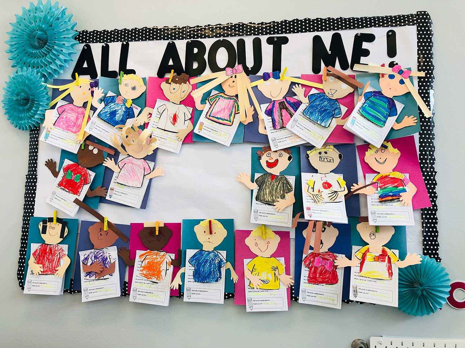 All About Me Bulletin Board with Each Child's Personally Drawn Face